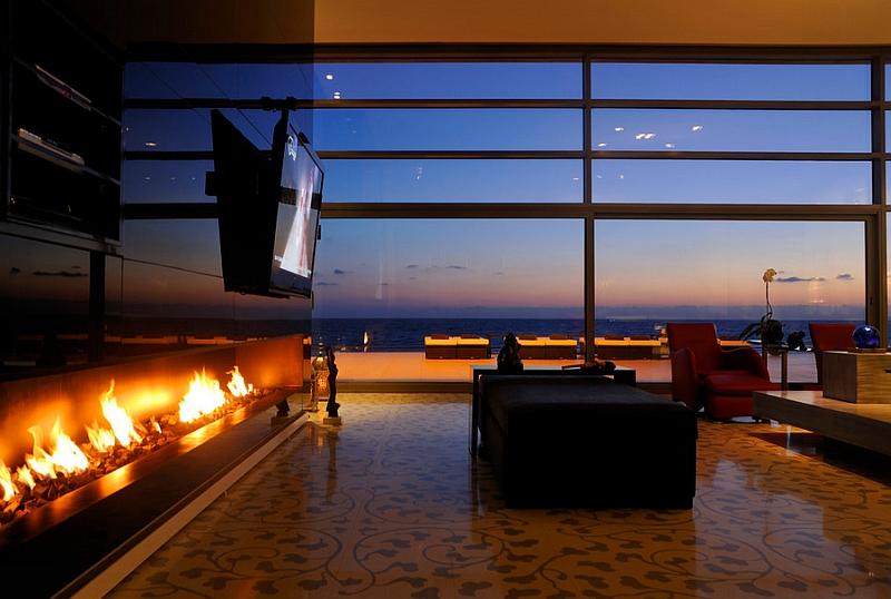 Contemporary Modern Fireplace Designs With Tv Above Mantel