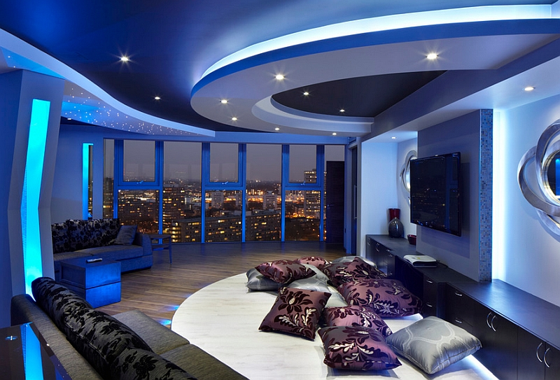 Stunning space with view of London skyline and lighting that adds a blue hue to the room!