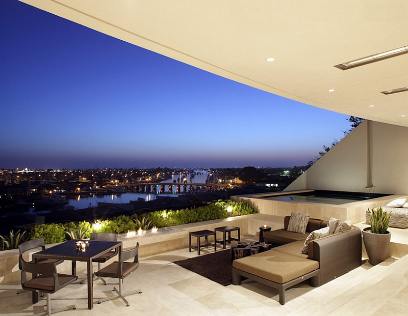 Stunning sunken patio offers breathtaking city skyline views
