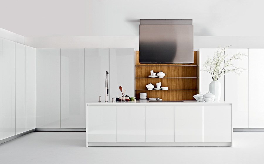 Stylish contemporary kitchen in white with wooden cabinets