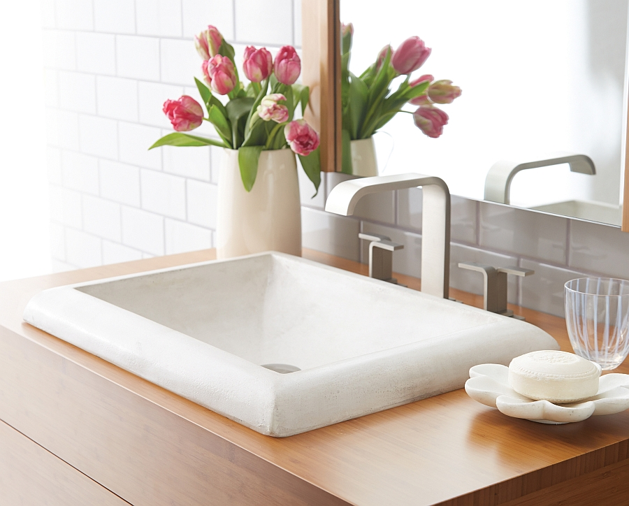 Stylish, contemporary sink in white with recatngular form