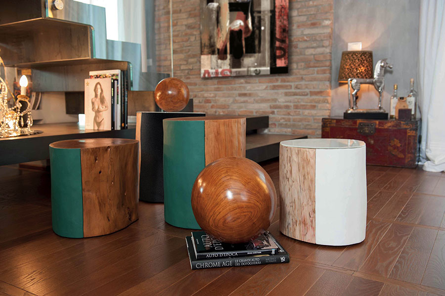 Stylish living room pouf from tree trunks