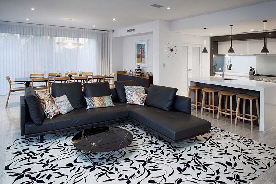 Stylish rug in the living space enlivens it Fascinating Perth Residence Dazzles With A Trendy International Style