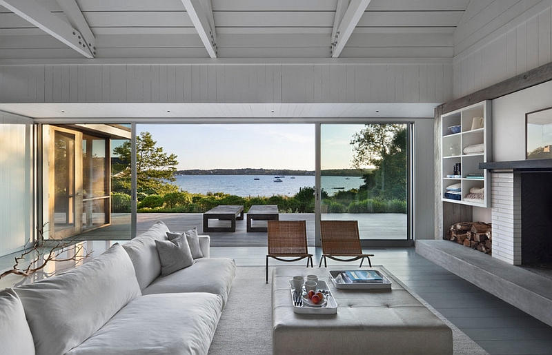 Summer style living room with a beautiful view outside