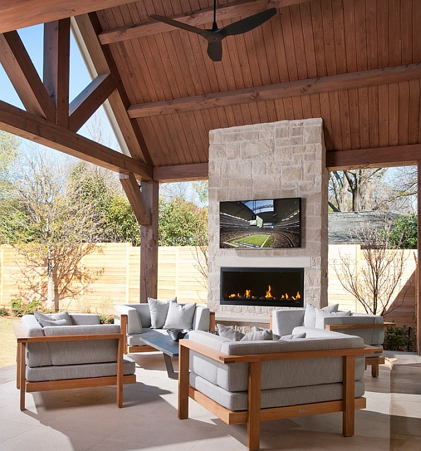 Stone Fireplace Next To The Outdoor Kitchen And A Lovely: TV Above Fireplace Design Ideas