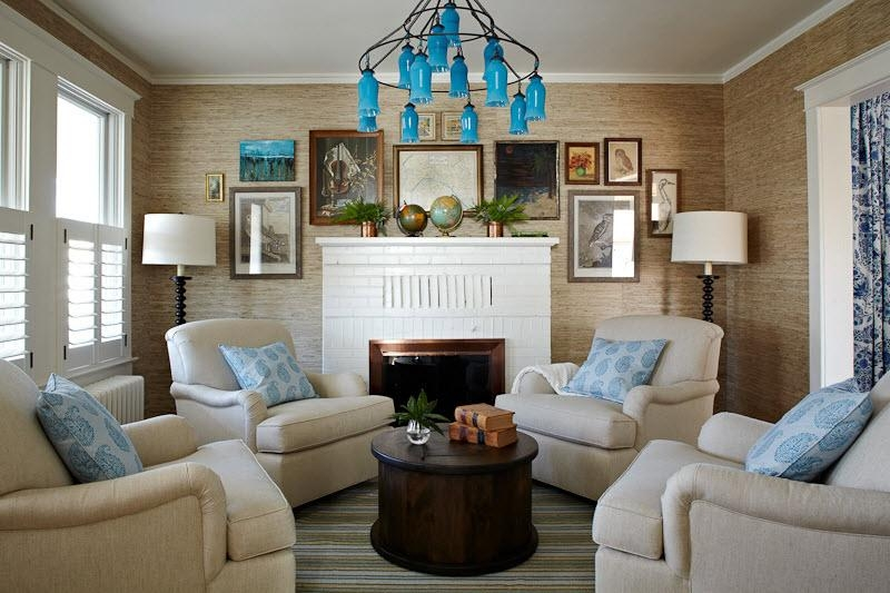 The Milk Glass Chandelier looks cool even in the modern living room