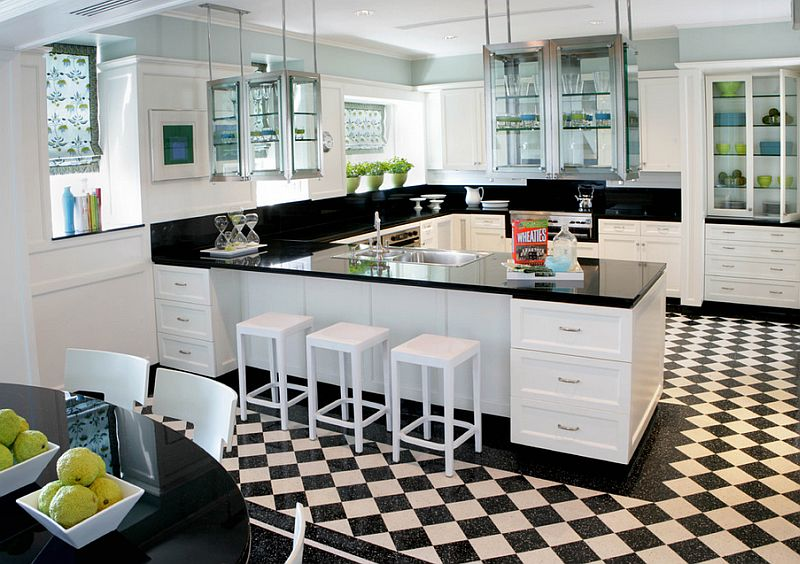 The flooring accentuates the black and white color scheme here