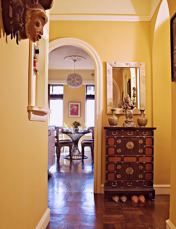 The silhouette of the apothecary table makes it ideal for the narrow entry