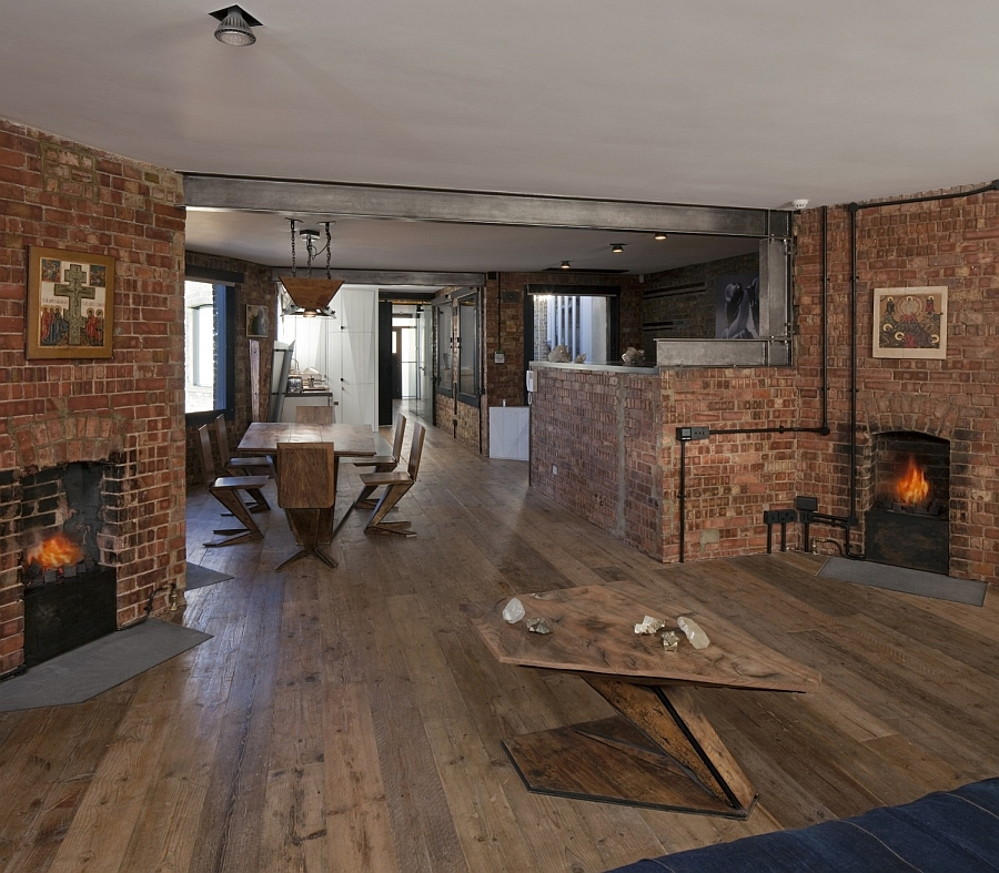 Traditional fireplaces and the brick walls give the home a classic English look