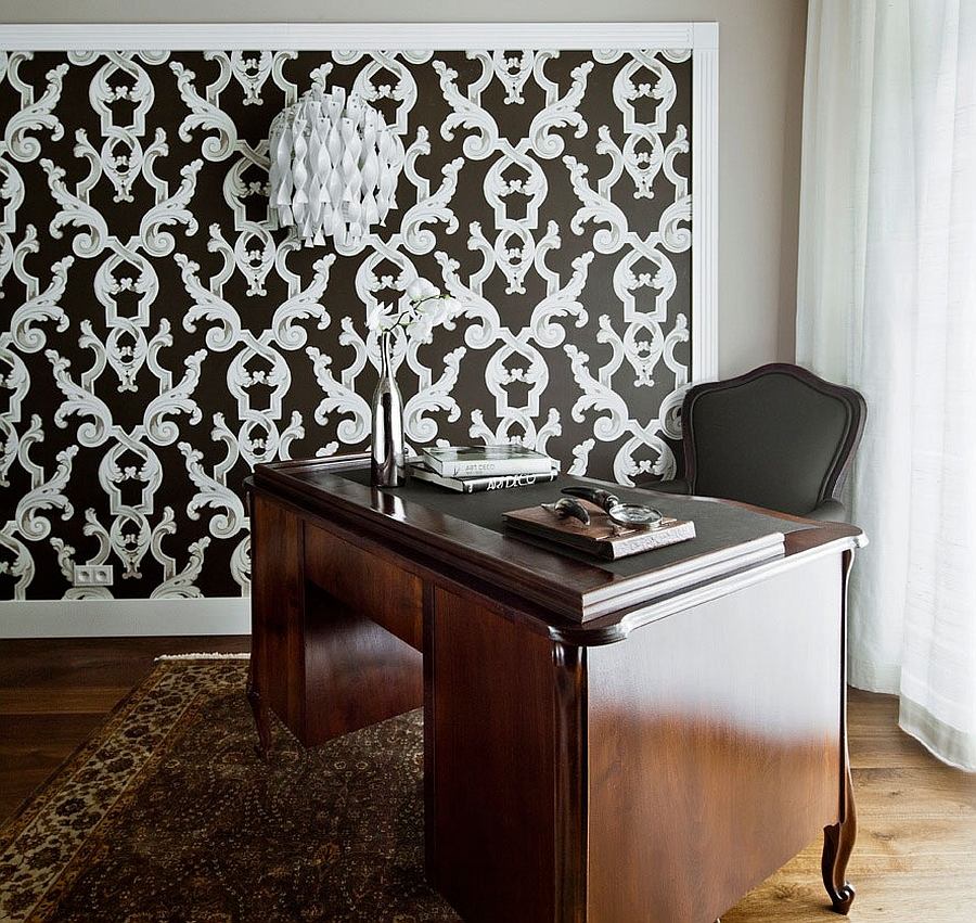 Traditional home office with lovely pattern on the wall