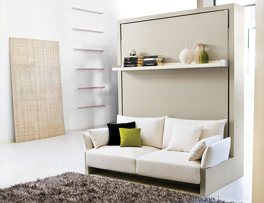 Transformable murphy bed over sofa systems that save up on ample space - Lit escamotable mural ikea ...
