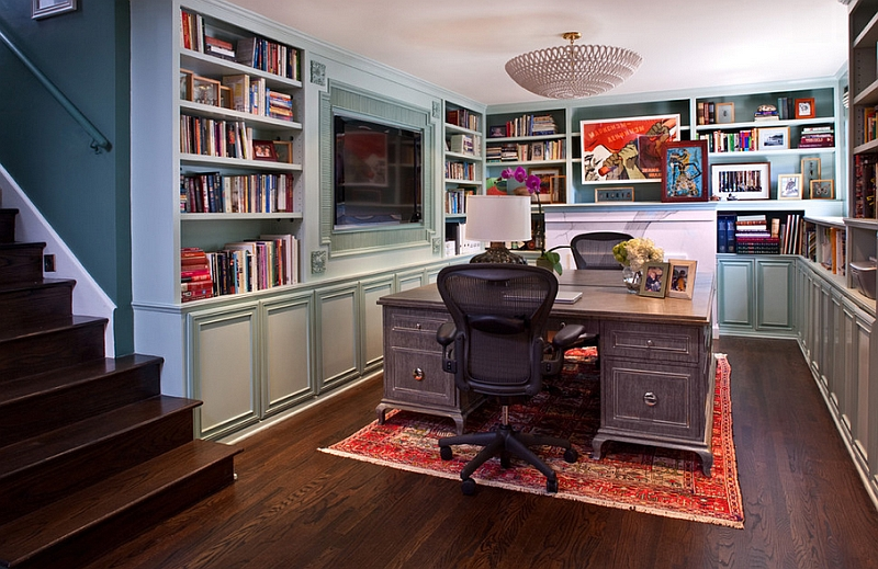 Transitional basement home office that is a real showstopper!