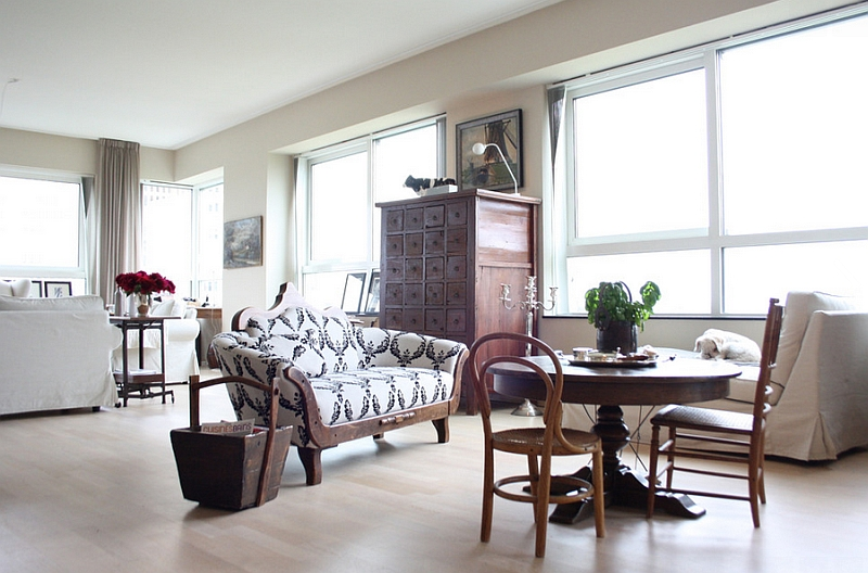 Transitional family room with a wonderful collection of vintage decor
