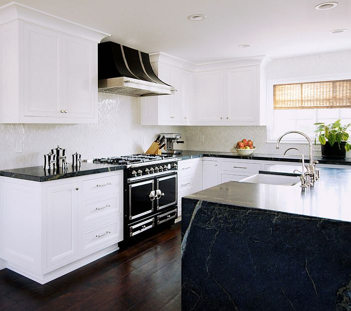 Transitional kitchen in black and white