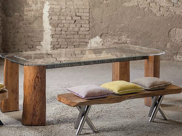 Beau View In Gallery Tree Trunk Bench And Table With A Glass Top