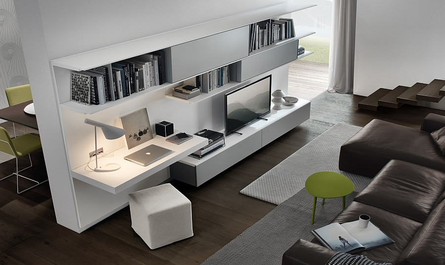 View In Gallery Trendy Wall Unit System For The Living Room In Minimalist  White