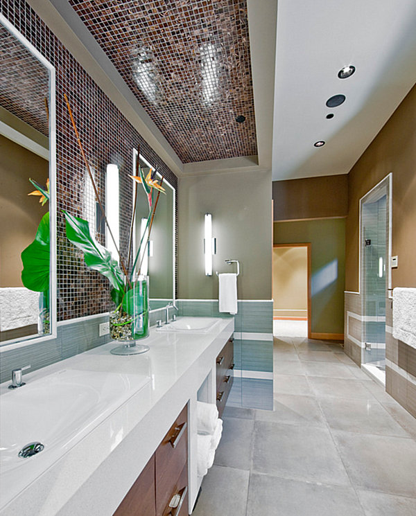 Tropical greenery in a contemporary bathroom