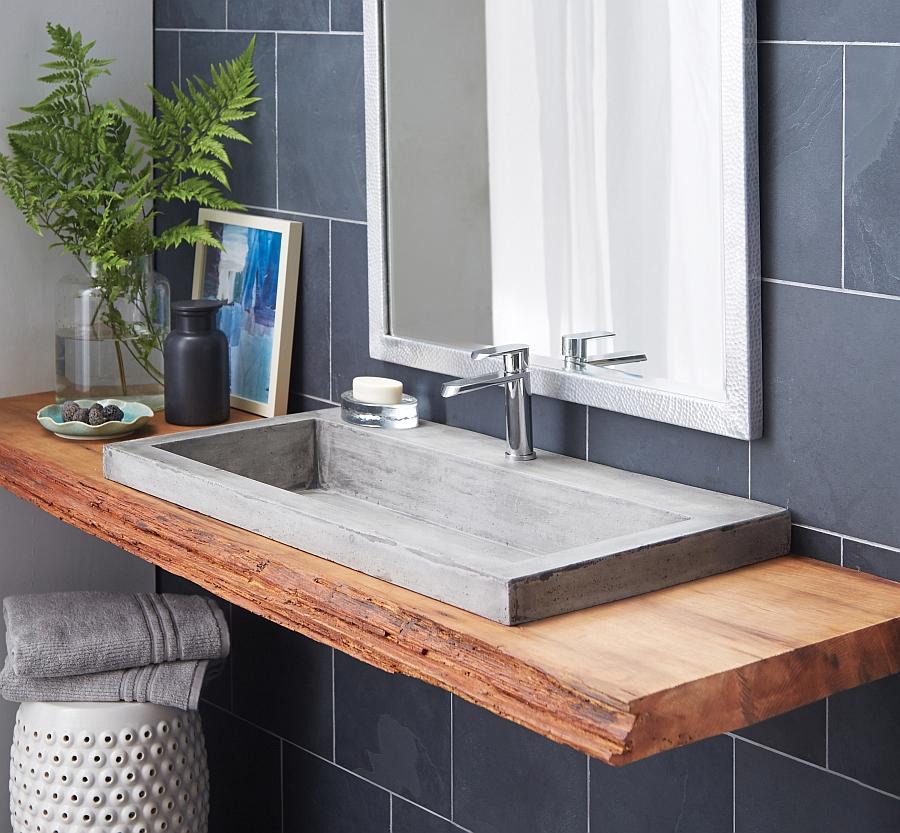 Trough rectagular sink in ash