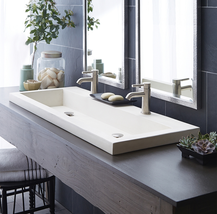White Trough Bathroom Sink : Eco-Conscious, Artisan-Crafted Sinks Sparkle With Contemporary Class