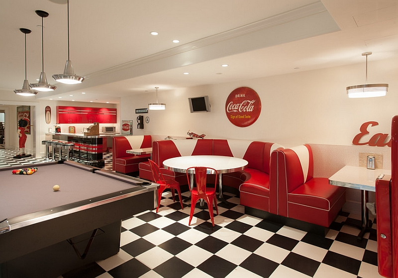 Turn the basement into a fun hangout and game room with a Coca-Cola themed diner