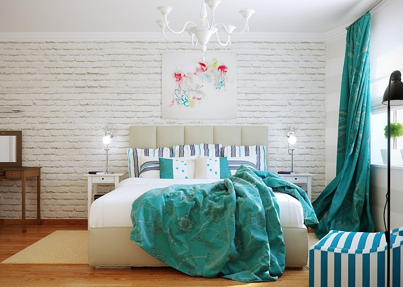 Turquoise fabric accents in the white bedroom