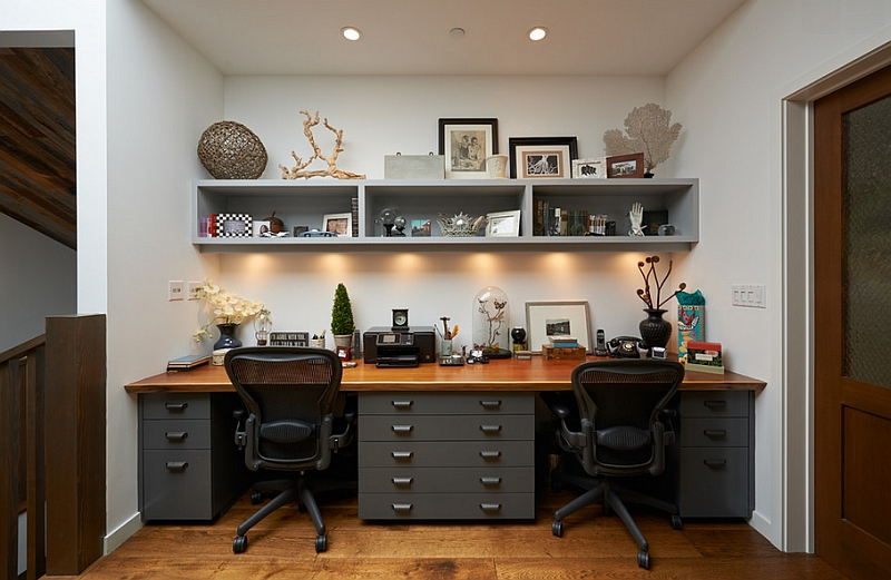 Under shelf lighting doubles as task lighting in the home office
