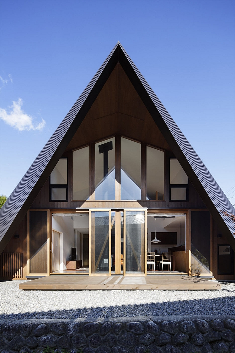 Unique exterior of the cool Origami house in Japan