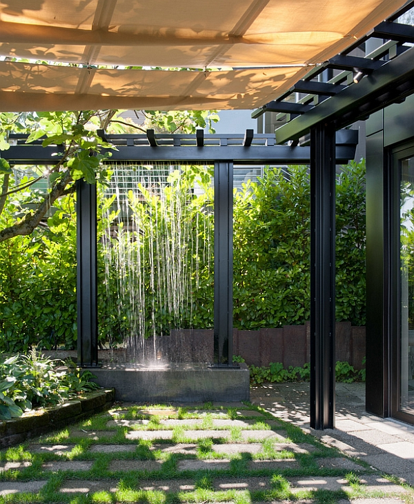 Use rain water to create a waterfall feature in the garden