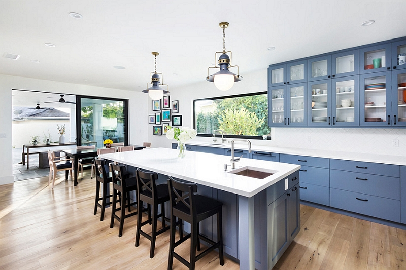 Varying shades of blue along with grey look great in the kitchen