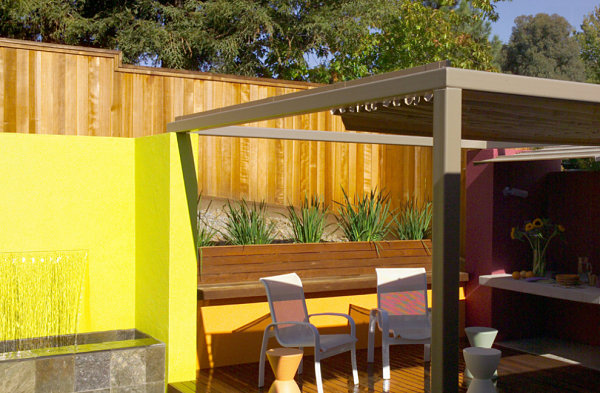 Vibrant accent wall on a modern patio