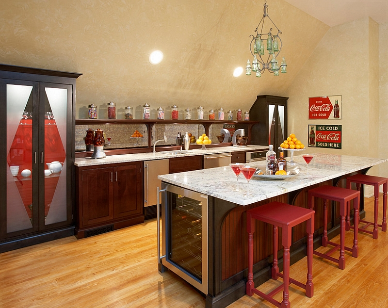 Vintage Coke signs seem to accentuate the reds in this kitchen