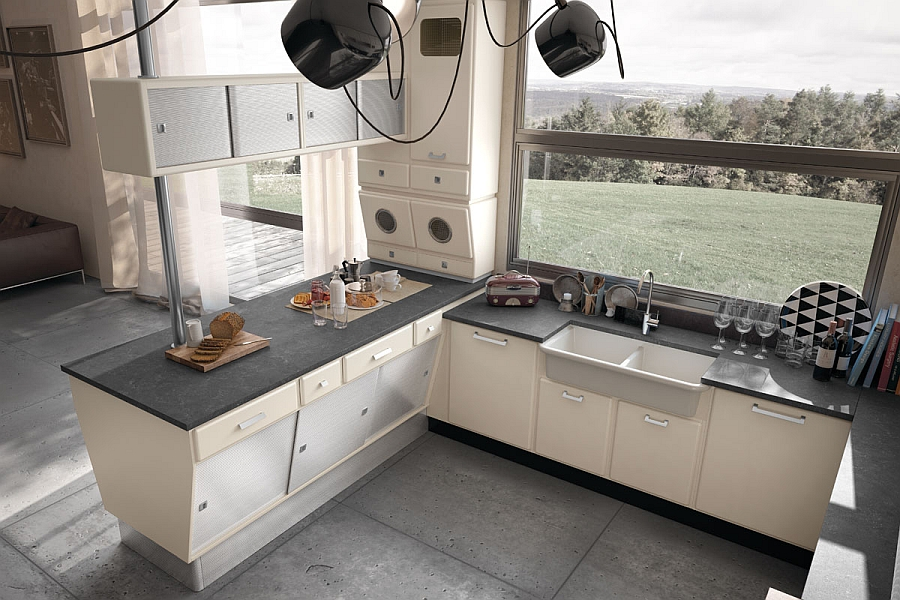 Vintage kitchen with light shades of lacquer and harmoniously flowing lines