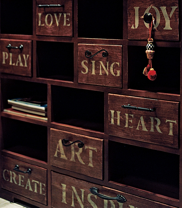 Vintage-style cabinet with customized with stenciling for the modern bedroom