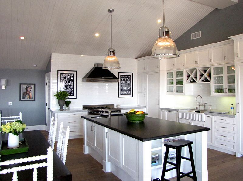 Black and white kitchens ideas photos inspirations for Kitchen wall colors with white cabinets
