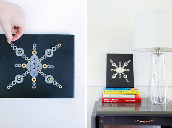 Washer and hex nut wall art
