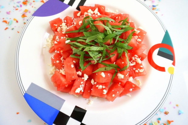 Watermelon, basil and feta