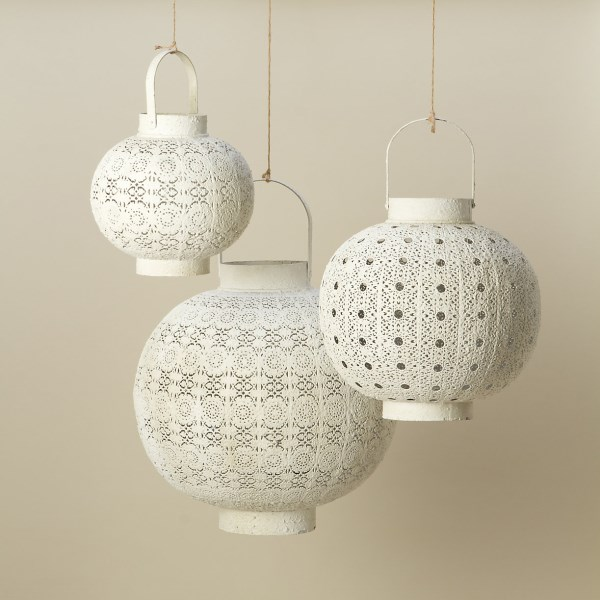 White filigree lanterns from Terrain