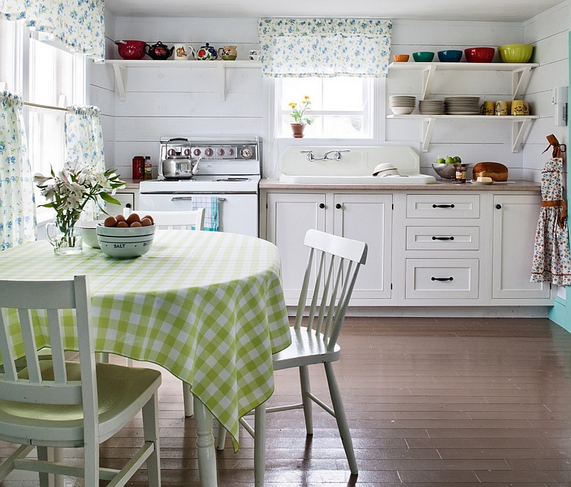 White kitchen with open shelves and a farmhouse style