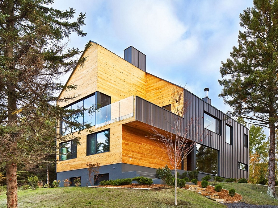 Wood and steel exterior of the stylish Quebec Home