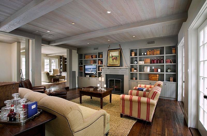 Wood dominates this elegant farmhouse style living room