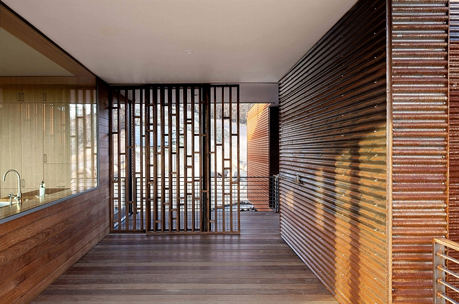 Wooden clad interior is protected from fire