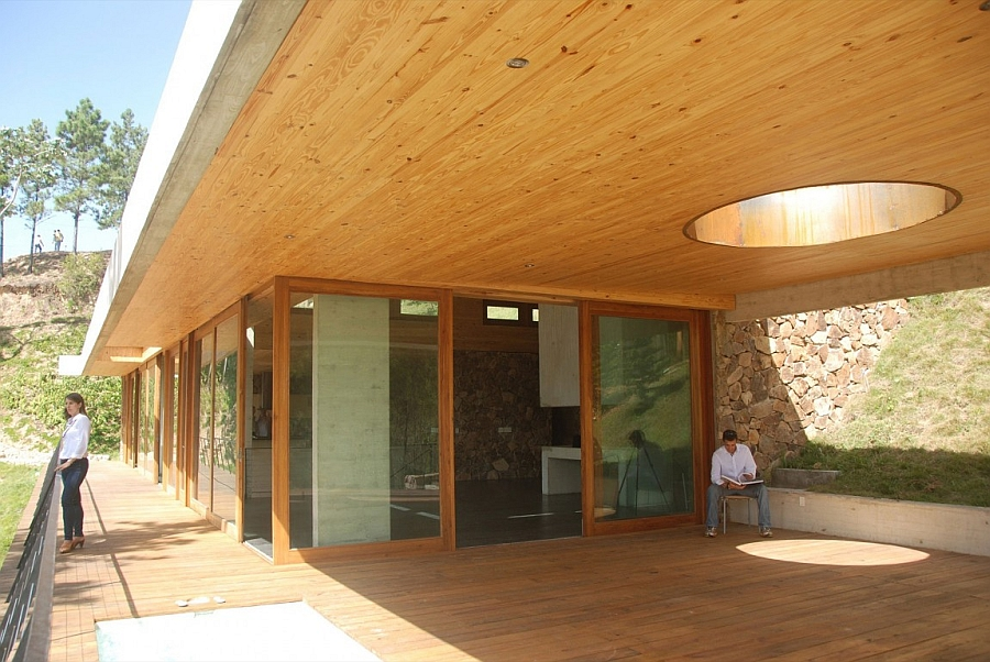 Wooden deck of the house offers lovely views