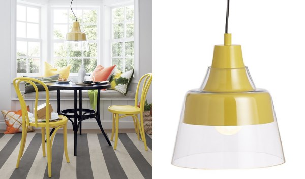 Yellow pendant lamp