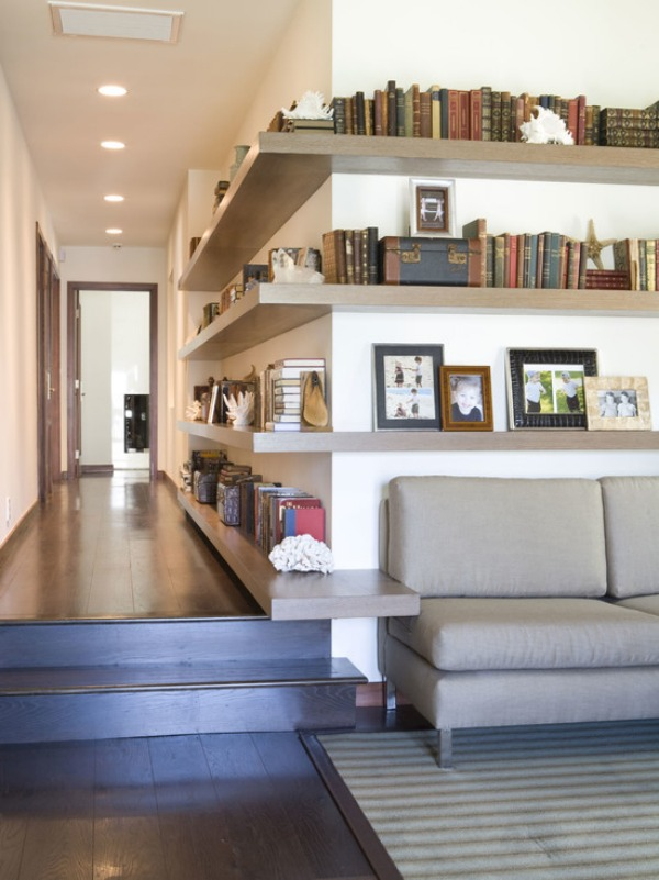 contemporary-hall corner shelving