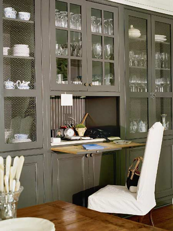 grey kitchen desk