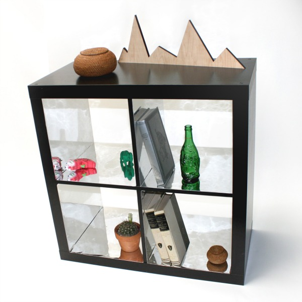mirrorred contact paper shelf
