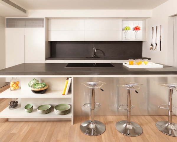 View In Gallery Modern Kitchen With Corner Shelves