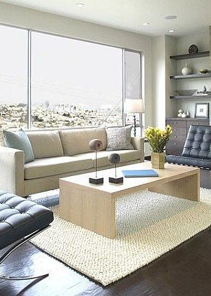 modern living room floating shelves