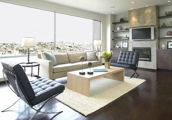 modern living room floating shelves