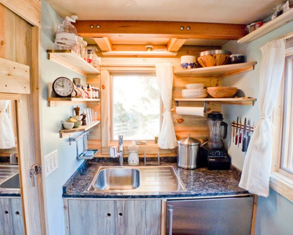 small kitchen with corner shelves